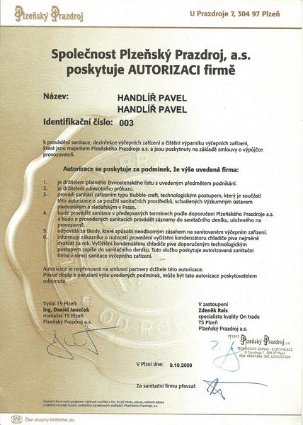 Certifikát Plzeňský Prazdroj